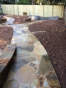 Stone Sidewalk & Retaining Wall